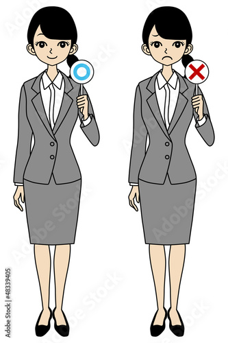 Businesswoman, correct and error