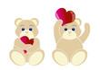 2 oursons avec coeur - serie 1 - Saint Valentin