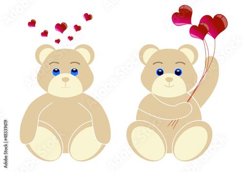 2 oursons avec coeur - serie 2 - Saint Valentin