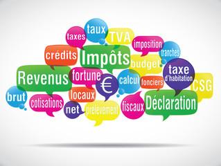 nuage de mots bulles : déclaration d'impôts