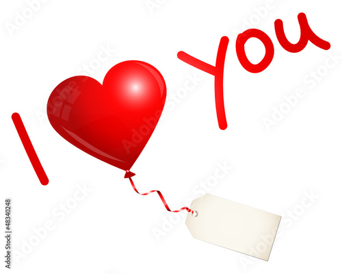 "Flying Red Heart Balloon & Label ""I love you"""