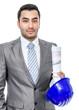 Portrait of businessman or engineer with helmet