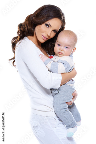 Beautiful loving mother and baby