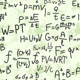 Physics formulas hand writing on grunge background poster