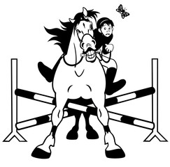 horse showjumping black white caricature