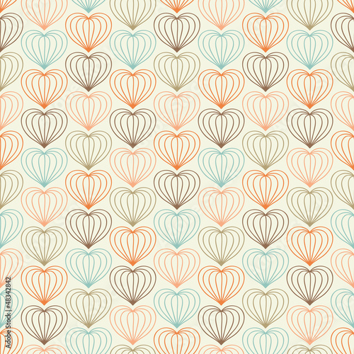Abstract seamless hand drawn pattern with hearts - 48342842
