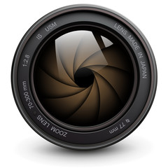 Camera photo lens with shutter inside