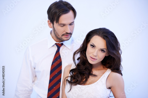 Beautiful Caucasian woman with herboyfriend
