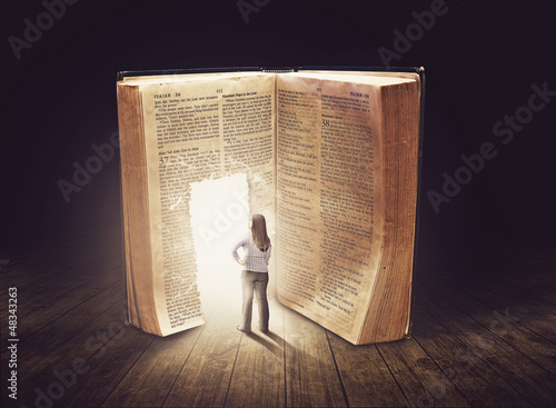 Woman looking at large book - 48343263