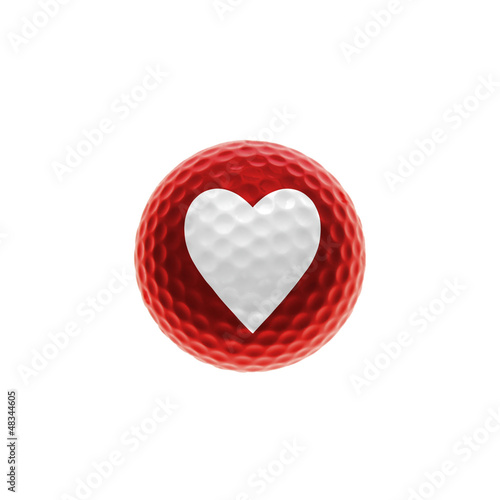 Red golf ball with a white heart - isolated over white