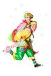 Two cheerful clowns  in the soap bubbles isolated on a white