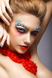 Fashion Woman Face with Strass - Bright Eye Makeup. Theater