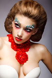 Theatre. Woman with Fantastic Stagy Colorful Makeup. Fantasy