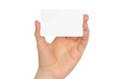 Hand holds charge card on white background .