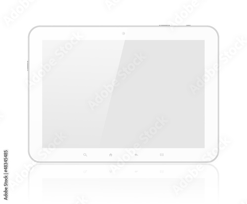 White tablet PC on white background.