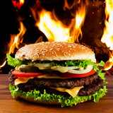 Hamburger - burger with grilled beef and vegetabes