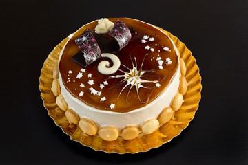 Delicious tiramisu cake with sweet decorations
