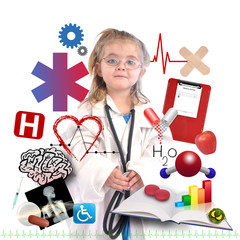Child Doctor with Academic Career on White