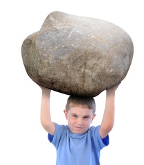 Boy with Stress Holding a Rock
