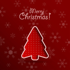 Merry christmas red background with fir tree.