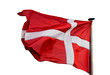 Danish flag in the wind on white background