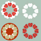 A set of love heart circular design elements