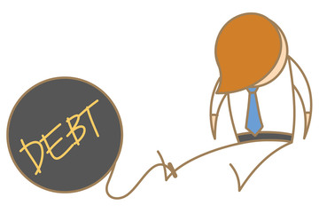 cartoon character of man in jail with debt ball