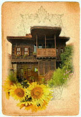 Old home in historic Koprivshtitsa, Bulgaria .painting style