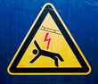 High voltage sign on  old metal surface
