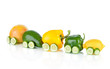 Train made of various fruit and vegetables  isolated