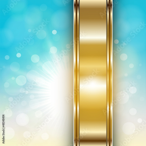 Abstract blue, sunny background with gold banner.