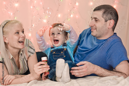 portrait if happy family