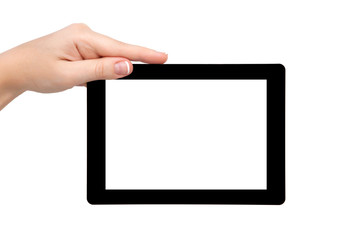woman hand hold a tablet with isolated screen