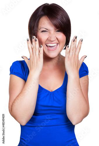 Frau schreit vor Glück