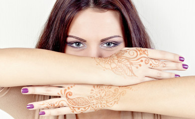 Beautiful girl painted Mehandi