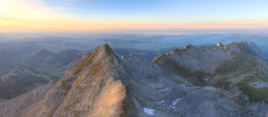 mountain panorama at sunset from Saentis