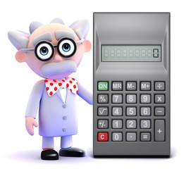 Scientist next to calculator