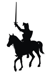 Knight with sword on horseback vector silhouette