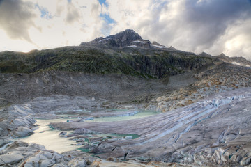 melting Rhone glacier, Switzerland