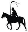 Knight with flag on horseback  vector silhouette