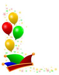 Luftballons, Narrenkappe und Konfetti