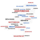 Netherlands map made from cities with the country name