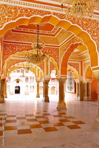Gallery of pillars at City Palace in Jaipur, Rajasthan, India
