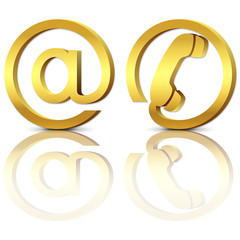 3d gold icons email and phone with reflection, set