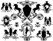 set of heraldic design elements with unicorns