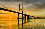 Vasco da Gama bridge at sunrise, Lisbon © Mapics