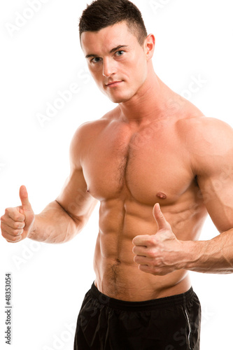 muscular guy showing ok