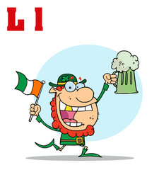 Funny Cartoons Alphabet-Leprechaun With Letters L