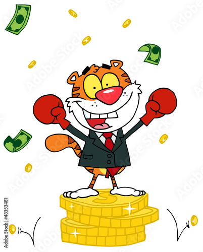 Cartoon Character Animal Happy Tiger Alated With Victory
