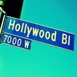 Hollywood Boulevard sign in Los Angeles, US poster